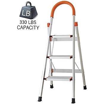 Amazon Com Dportcius 3 Step Aluminum Ladder Anti Slip
