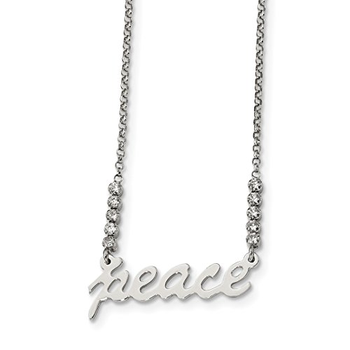 (925 Sterling Silver Cubic Zirconia Cz Peace Chain Necklace Pendant Charm Inspirational Fine Jewelry Gifts For Women For)