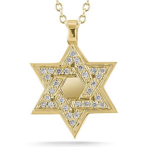 I REISS 14K Yellow Gold 0.18ct TDW White Diamond Star of David Judaica Pendant ()