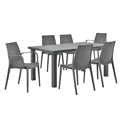 [casa.pro]® Rattan Table Set / DARK GREY / Table + 6 chairs / Garden terrace patio / Outdoor furniture / Wicker