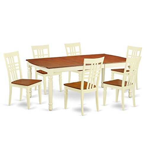 East West Furniture DOLG7-BMK-W 7 PC Kitchen Tables & Chair Set with One Dover Dining Table & Six Dining Chairs in Buttermilk & Cherry Finish