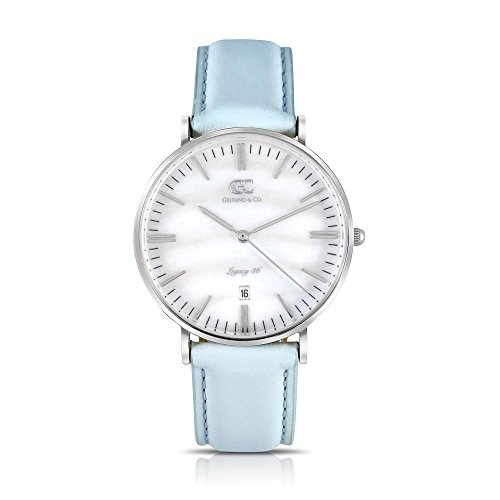 (Gelfand & Co. Women's Minimalist Watch Baby Blue Leather Centre 36mm Silver with Pearl)
