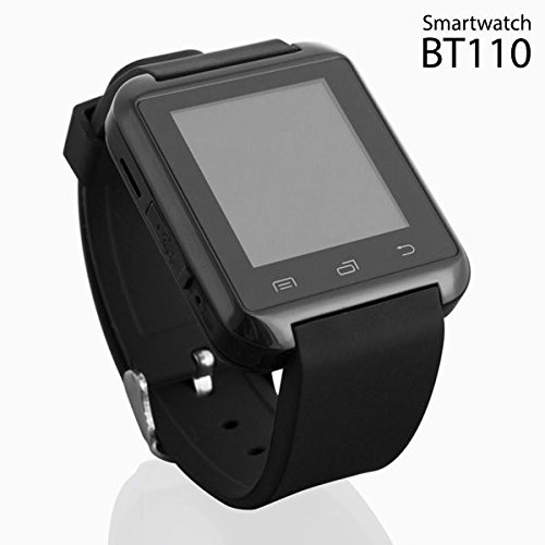 Elegant Black Android Smartwatch with Audio, SMS WhatsApp & Social Media Notifications, Alarm, Sleep Monitor, Music, Chronometer, Barometer, Altimeter, & Pedometer by BT110
