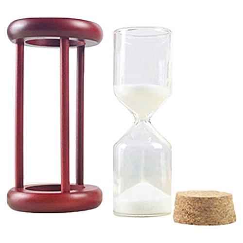 iPhyhe Hourglass DIY Sand Timer for Wedding Sand Ceremony (Wooden Frame, White Sand)