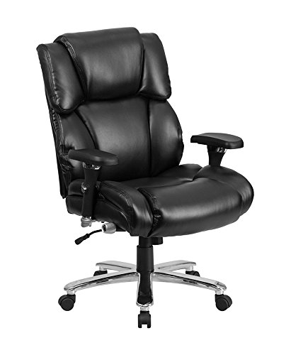 Offex Big and Tall Leather Executive Swivel Chair with Lumbar Support Knob – Black