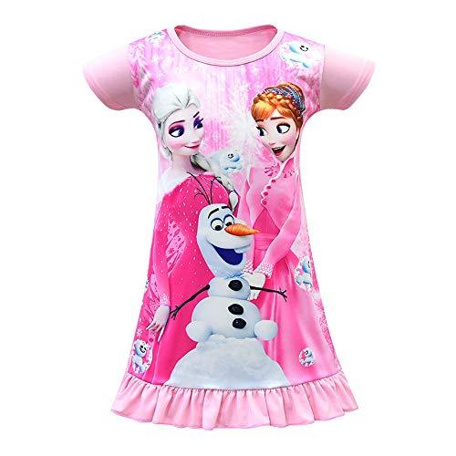 Mukola Girls Elsa Pajama Print Princess Dress Short Sleeve Nightgown Sleepwear Pink]()