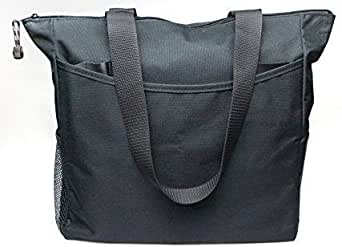 Black Tote Bag 17 Inches Travel Shopping Business Handle Carrier by MakExpress