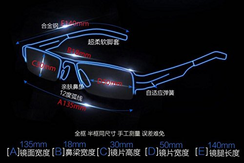 Arena Sand y Classic frame mitad Gafas KOMNY móvil el Equipo teléfono ligero Black espejo juego juegos y espejo anti azul avión Espejo gafas negra wavqBF
