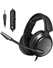 Micolindun Stereo Gaming Headset for PS4,PS5, Xbox One, PC with LED Bass Surround Soft Memory Earmuffs, Noise Cancelling Over Ear Headphones Mic, Volume Control for Laptop Table