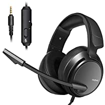 Micolindun N12 Stereo Gaming Headset for PS4, Xbox One, PC with LED Bass Surround Soft Memory Earmuffs, Noise Cancelling Over Ear Headphones Mic, Volume Control for Laptop Table (Black)
