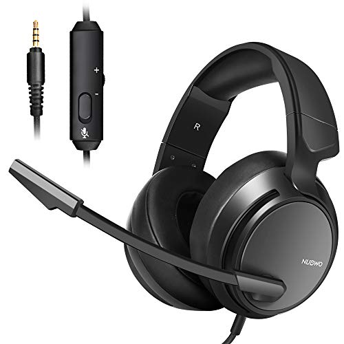 Micolindun N12 Stereo Gaming Headset for PS4, Xbox One, PC with LED Bass Surround Soft Memory Earmuffs, Noise Cancelling Over Ear Headphones Mic, Volume Control for Laptop Table
