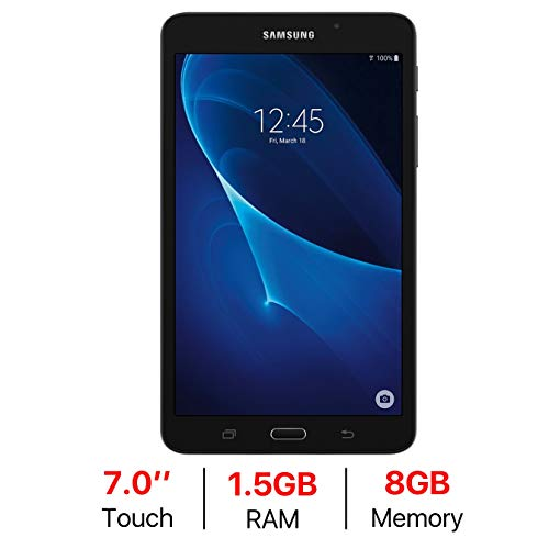 (Samsung Galaxy Tab A 7.0'' Touchscreen (1280 x 800) Wi-Fi Tablet, Quad-Core 1.3GHz Processor, 1.5GB RAM, 8GB Memory, Dual Cameras, Bluetooth 4.2, Up to 11 hrs Battery Life, Android OS, Black)