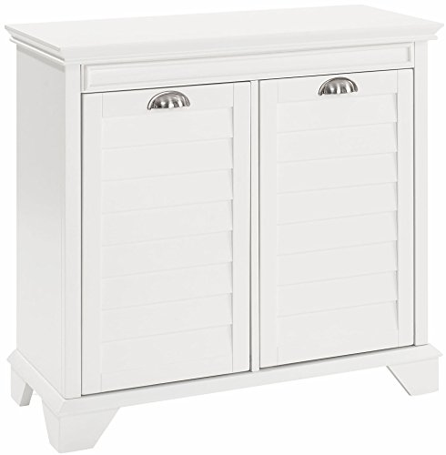 Two-section, white laundry cabinet,