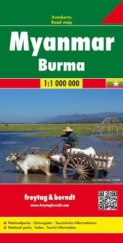 Myanmar (Burma) Travel Road Map FB 1:1M 2015 (English, Spanish, French, Italian and German Edition)