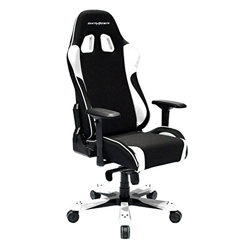 DXRacer King Series Big and Tall Chair DOH/KS11/NW Office Chair Gaming Chair Ergonomic Computer Chair Esports Desk Chair Executive Chair Furniture with Free Cushions (Black/White) DXRACER USA LLC