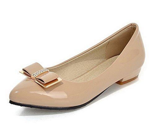 VogueZone009 Damen Lackleder Ziehen auf Niedriger Absatz Rein Pumps Schuhe Aprikosen Farbe