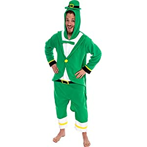 Silver Lilly Leprechaun Unisex Adult Pajamas - Plush One Piece Cosplay Holiday Costume by (Green, L)