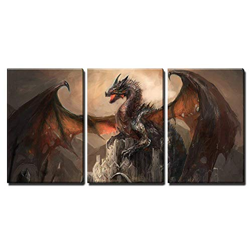 Dragon Painting - wall26 - War with The Dragon on Castle - Canvas Art Wall Decor -16