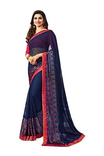 Indiano Sarees Partito Indossare Tradizionale Designer Facioun Blu Wedding Donne Sari Da fEwRSn