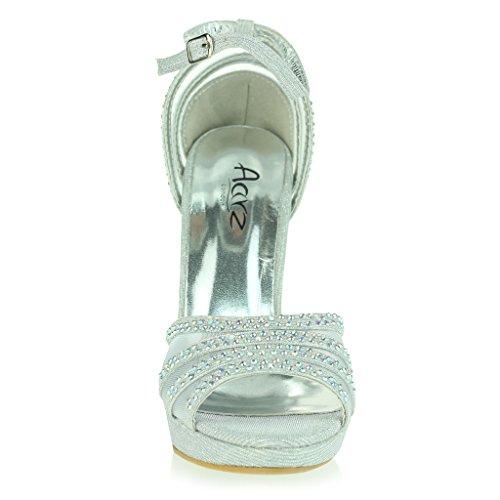 Mujer Señoras Dos Partes Punta Abierta Correa de Tobillo Plataforma Diamante Delgado Tacón Alto Noche Fiesta Boda Prom Nupcial Sandalias Zapatos Talla Plata