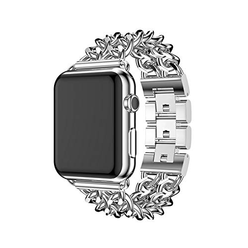 Women Men Luxury Premium Stainless Steel Metal Double Cowboy Chain Bracelet Link Replacement Wrist Strap Watch Band Compatible for Apple Watch Series 3 2 1 38mm 42mm (Silver, 38mm)