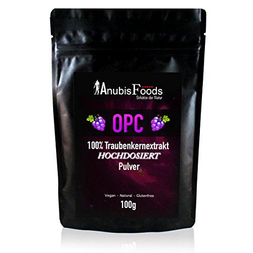 Anubisfoods OPC Pulver Traubenkernextrakt, hochdosiertes Echt-OPC Anti-Aging - Premium (1x 100g)