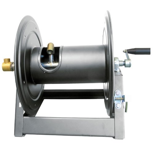 General Pump DHRA50300 1/2'' x 300' Charcoal Grey Steel Hose Reel with Flat Sidewalls, A-frame, Pin Lock and Brake and Stainless Steel Swivel Inlet, 5000 Psi by General Pump