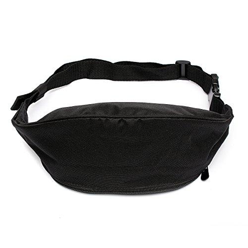 OURBAG Bum Bag Fanny Pack Hip Waist Money Pouch Sport Travel Belt Wallet Black Medium