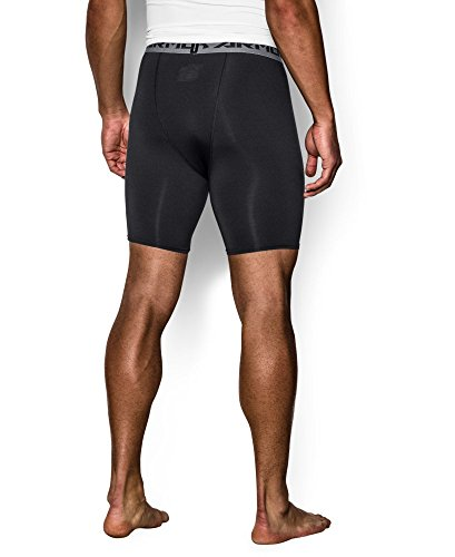 Under Armour Men's HeatGear Armour Compression Shorts – Mid, Black (001)/Steel, X-Large by Under Armour (Image #1)