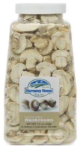 Harmony House Foods Freeze-Dried Mushroom Slices (1.5 oz, Quart Size Jar)