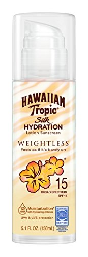 Hawaiian Tropic Silk Hydration Weightless Sun Care Sunscreen Lotion SPF 15, 5.1 Ounce (Hawaiian Tropic No Spf)