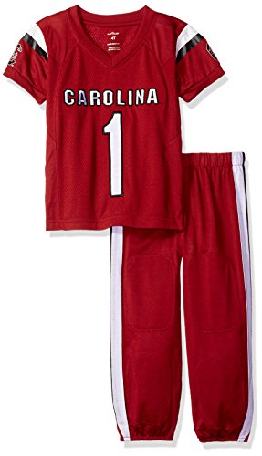 FAST ASLEEP NCAA South Carolina Fighting Gamecocks Boys Toddler/Junior Football Uniform Pajamas, Size 3T, Red