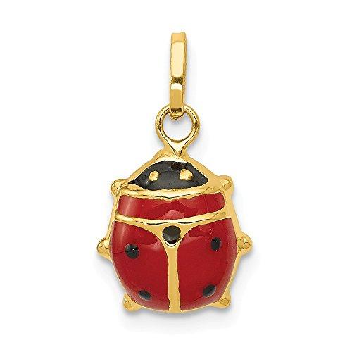 14K Yellow Gold Red Enameled Ladybug Charm