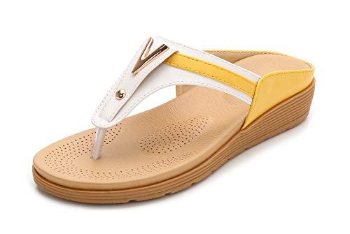 Dame Confortables Jaune à Compensées Bout Fortuning's Sandales Conception Ouvert Bas Simple JDS® Blanc Été Talon gAqIx5R