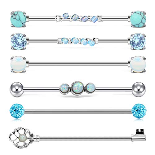 QWALIT Industrial Barbell 14G Cartilage Earrings Surgical Stainless Steel Scaffold Piercings Arrow Turquoise Industrial Piercing Jewelry Bar 38mm 35mm for Women Men