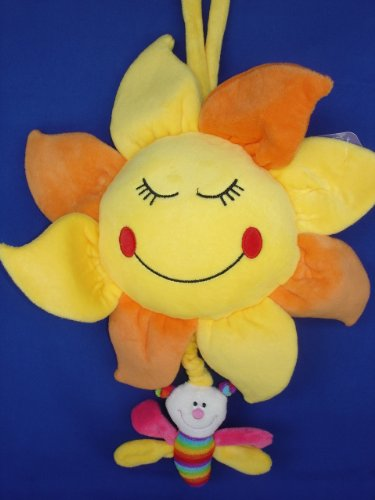 - Plush Baby Happy Sunflower Pull String Musical Crib Stroller Hanging Toy