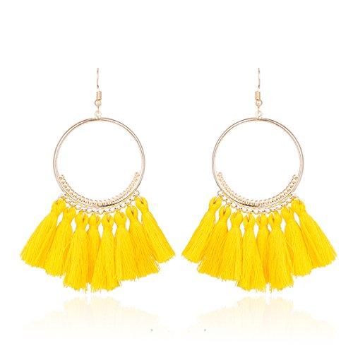 Fashion Tassel Gold Hoop Earrings Dangle with Fish Hook Fringe Thread Earring for Women (Yellow) (Fish Earring Yellow)