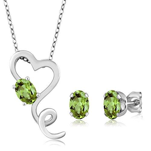 Silver Sterling Pendant 925 Heart (2.12 Ct Green Peridot Gemstone Birthstone 925 Sterling Silver Heart Pendant Earrings Set With 18 Inch Silver Chain)