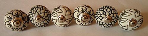 Hand Carved Ceramic - Vintage Look Lot of 6 Zoya's Colorfull Hand Carved Ceramic Knobs Handmade Ceramic Door Knobs Kitchen Cabinet Drawer Pull Kid's Badroom Knobs by Zoya's (Black & White)