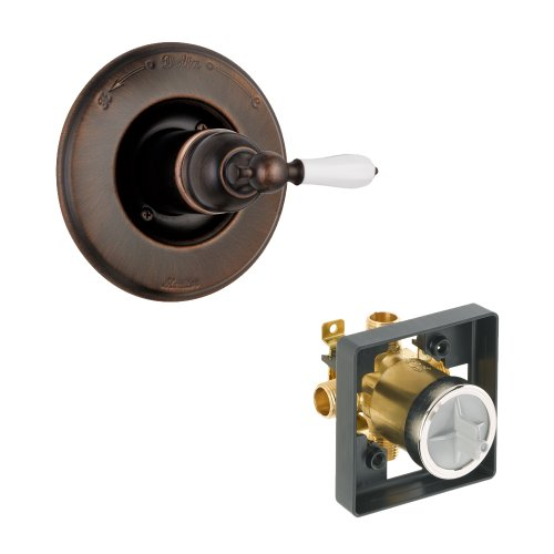 Porcelain Kit Lever (Delta Delta KVODVI-T14055-H712-RB Victorian Valve Only Kit Pressure-Balance Single-Function Cartridge with Porcelain Lever Handle, Venetian Bronze Venetian Bronze)
