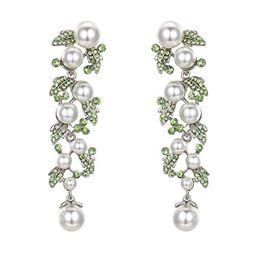EVER FAITH Women's Austrian Crystal Cream Simulated Pearl Bridal Leaf Dangle Earrings Green Silver-Tone