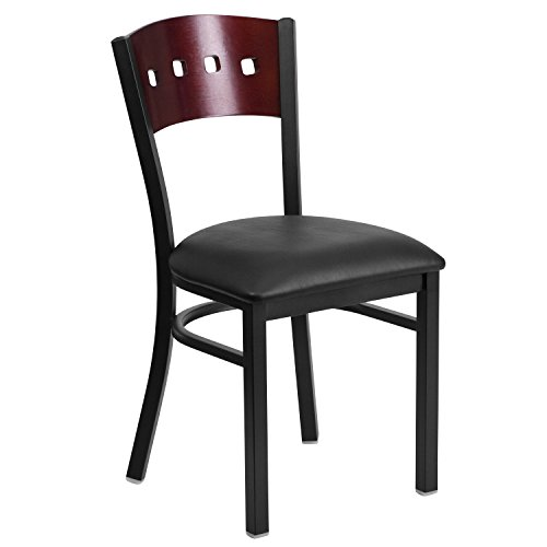 MFO Black Decorative 4 Square Back Metal Restaurant Chair...