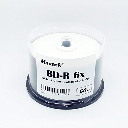 Maxtek 50 pcs 1-6x BD-R Blu-ray Recordable White Inkjet Printable Blank Disc, 25GB in Spindle Box Pack. Made in Taiwan. BDR-WIJ-50MX