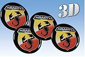 Wheel Stickers Abarth Imitation Centre Cap Logo Badge Wheel Trims 3D (15mm.) Car decoration