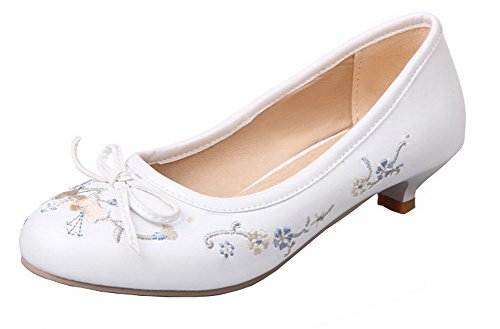 On Round Pull Women's Toe Pumps White PU Embroidered WeiPoot Shoes Heels Low YXfxpqnO