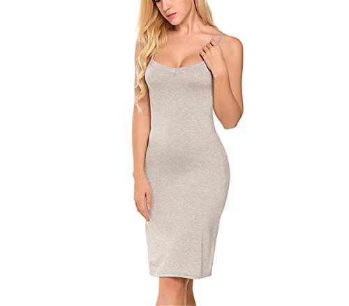 New Womens 4' Heel (New Ladies Women Casual Sexy Strap Slip Sleeveless V Neck Solid Home Bottoming Straight Dress Size S-2XL Long Gray M)