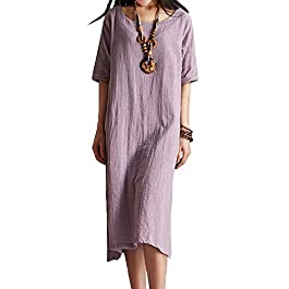 ASHER FASHION Women's Dresses Loose Short Sleeve Casual Maxi Dresses-Summer Beach Linen Dresses