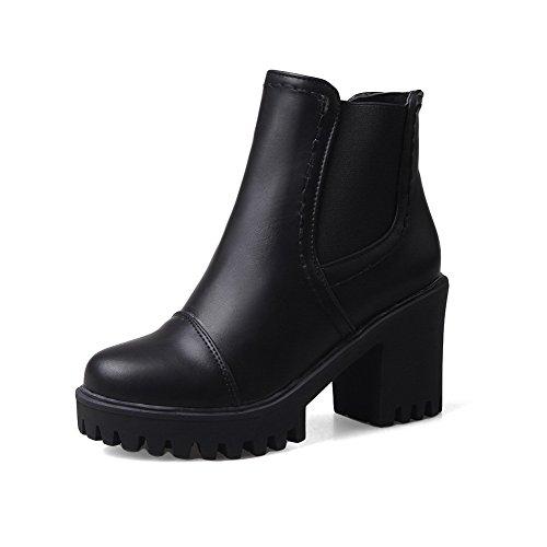 Allhqfashion Women's Ankle-high Zipper Soft Material High-Heels Round Closed Toe Boots Black HERAsor5O