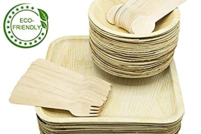 "Party Set of 100 Eco-Friendly Dinnerware - 10"" Palm Leaf Square Dinner Plates (25) & Bowls (25), Wood Forks(25) & Spoons (25) - Elegant - Disposable - Compostable"