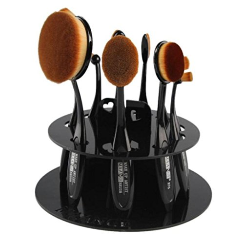 Han Shi Brushes Organizer, 10 Hole Oval Makeup Brush Holder Cosmetic Shelf Tool Case (M, Black)